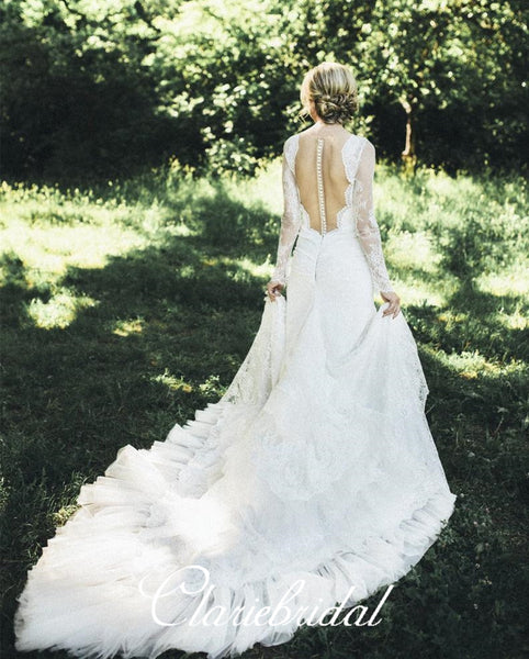 Long Sleeves Lace Mermaid Wedding Dresses, Country Wedding Dresses, Long Wedding Dresses