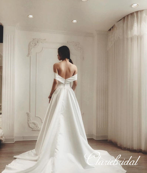 Off Shoulder A-line Ivory Satin Elegant Wedding Dresses
