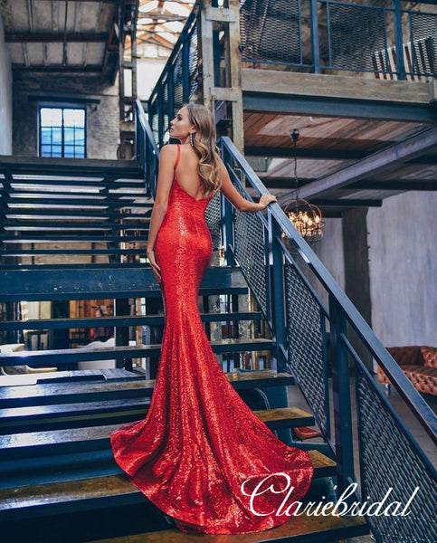 Straps Long Mermaid Red Sequin Prom Dresses, Newest Long Prom Dresses