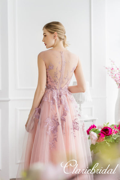 Pink Tulle Lace Long Homecoming Dresses, Prom Dresses, Newest Prom Dresses