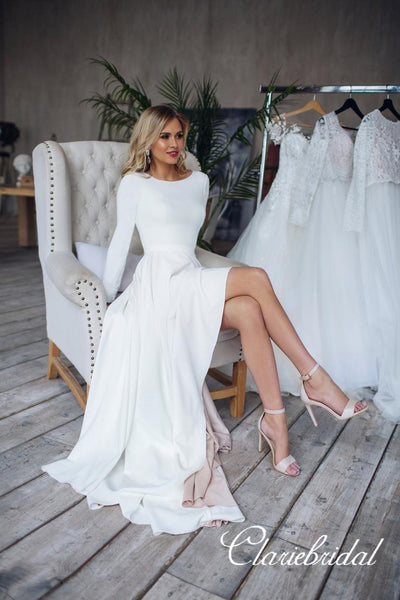 Long Sleeves Simple A-line Jersey Wedding Dresses, Bridal Gown