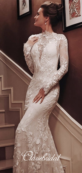 Long Sleeves Lace Mermaid Wedding Dresses, Elegant Wedding Dresses, Newest Long Wedding Dresses