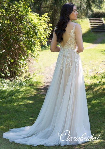 V-neck Lace Tulle Long A-line Wedding Dresses, Bridal Gown, Long Wedding Dresses