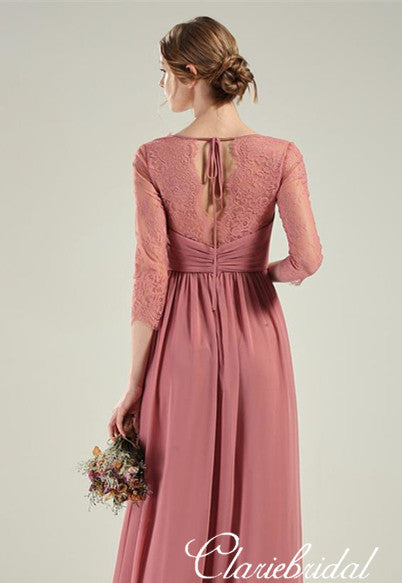 Half Sleeves Dusty Pink Chiffon Lace Long Bridesmaid Dresses