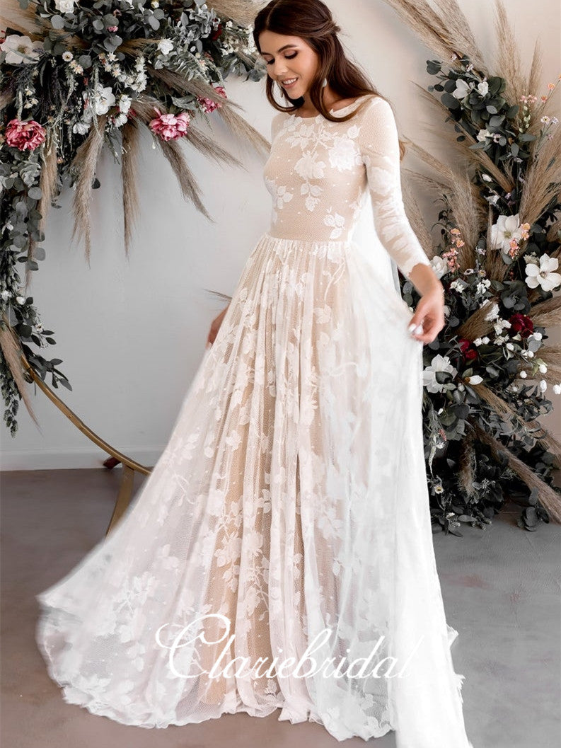 Long Sleeves Lace Tulle Wedding Dresses, A-line Long Wedding Dresses, Bridal Gown