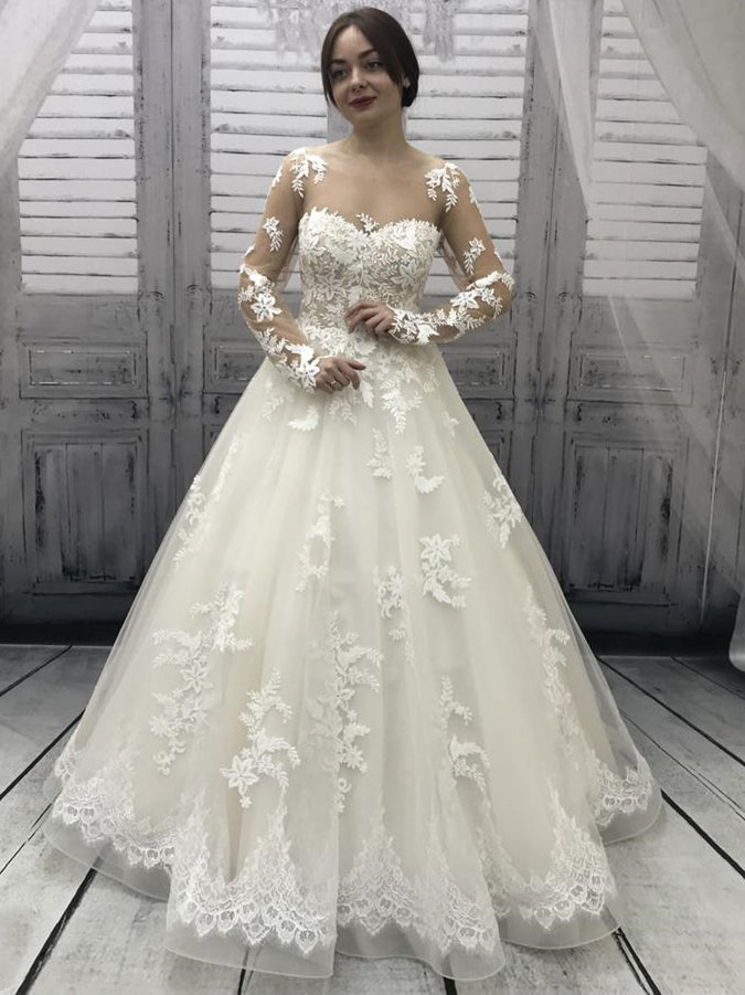Long Sleeves A-line Lace Tulle Wedding Dresses, Illusion Wedding Dresses, Ivory Wedding Dresses