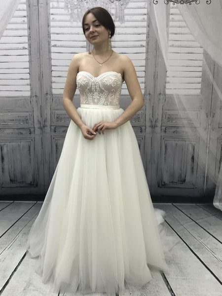 Sweetheart Long A-line Lace Tulle Wedding Dresses, Simple Eleagnt Wedding Dresses, Long Wedding Dresses