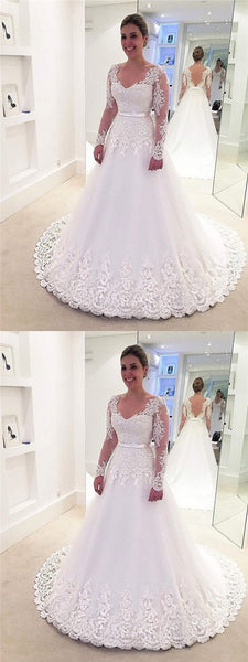 Long Sleeves V-neck Long Sleeves Lace Tulle Wedding Dresses