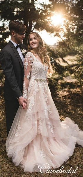 Long Sleeves V-neck Lace Tulle Country Wedding Dresses