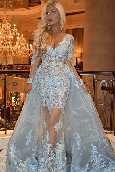 V-neck Long Mermaid Light Blue Lace Organza Prom Dresses, Long Prom Dresses, 2020 Prom Dresses