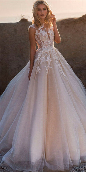 Sleeveless Lace Tulle Blush Champagne Wedding Dresses, Gorgeous 2020 Wedding Dresses, Bridal Gown