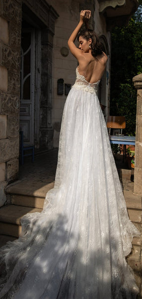 Lovely See Through Lace Wedding Dresses, Long Wedding Dresses, Romantic Wedding Dresses