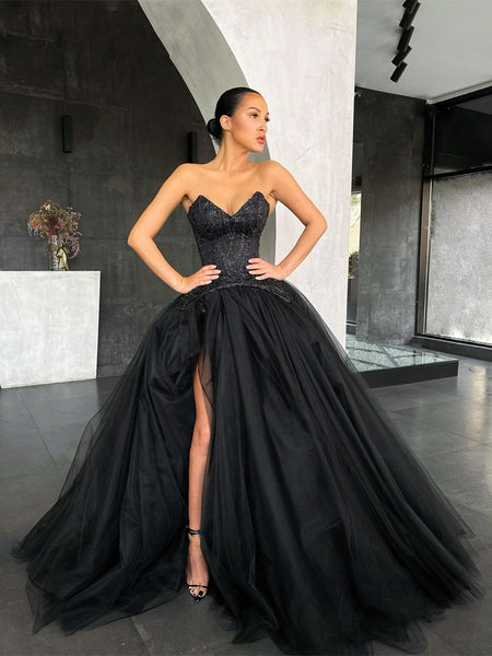 V-neck Long Ball Gown Black Prom Dresses, Lace Tulle Prom Dresses, Newest Prom Dresses