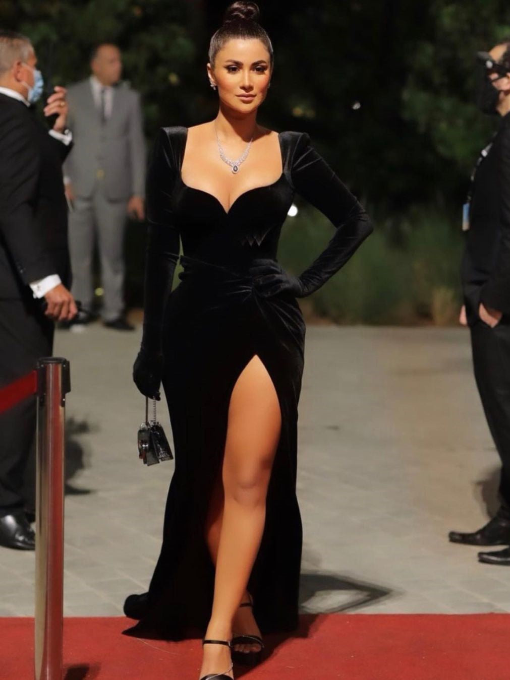 Long Sleeves Velvet Side Slit Prom Dresses, Sexy Long Prom Dresses, 2021 Black Prom Dresses