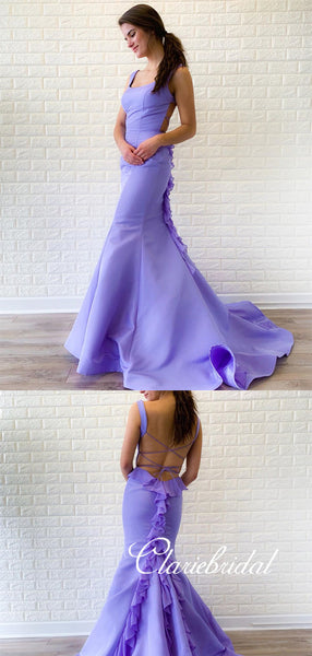 Lovely Lilac Mermaid Prom Dresses, Ruffled Long Prom Dresses, Prom Dresses