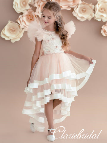 Lovely Hi-low Appliques Flower Girl Dresses