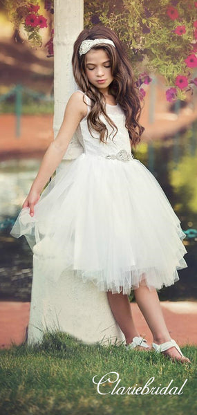 Round Neck Lace Top Tulle Flower Girl Dresses
