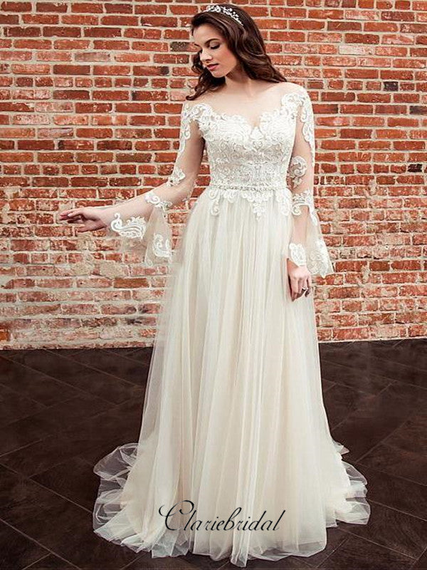 Long Lace Sleeves Bride Dresses with See-through Neckline,Wedding Dresses