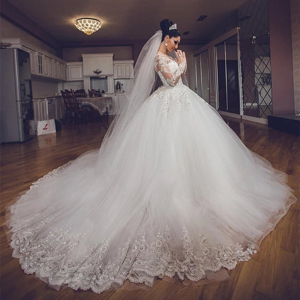 Long Sleeves Lace Beaded Wedding Gown, Tulle Bridal Gown, Luxury Long Wedding Dresses