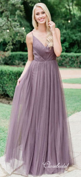 Elegant Long A-line Dusty Purple Tulle Bridesmaid Dresses