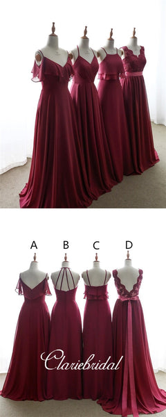 Mismatched Burgundy Chiffon Lace Long Bridesmaid Dresses