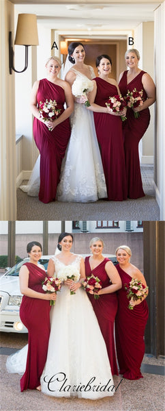 Mismatched Wine Red Long Bridesmaid Dresses, Wedding Guest Dresses