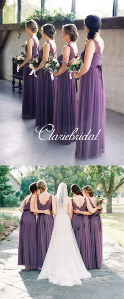 V-neck Purple Tulle A-line Long Bridesmaid Dresses