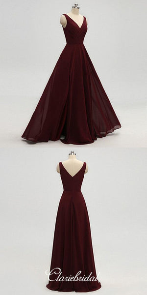 Simple V-neck Maroon Chiffon Long A-line Bridesmaid Dresses
