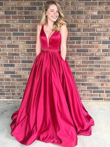V-neck Long A-line Red Satin Beaded Prom Dresses, Elegant Prom Dresses, Prom Dresses