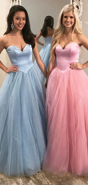 Sweetheart Sparkle Satin Tulle Prom Dresses, Princess Long Prom Dresses, Prom Dresses