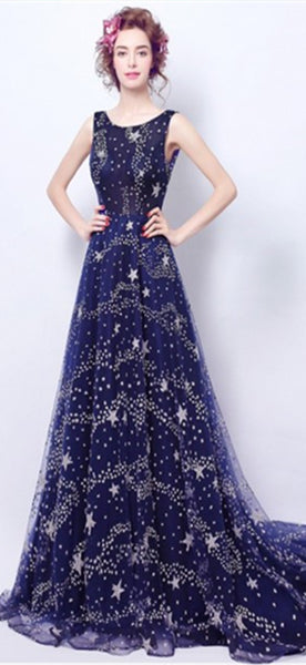 Round Neck Long A-line Sky Prom Dresses, Shiny Sparkle Long Prom Dresses, Long Prom Dresses