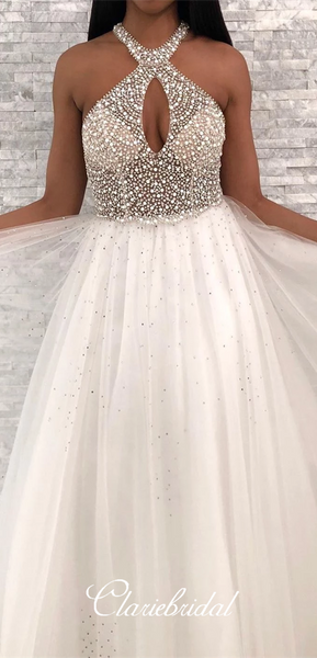 Key Hole Long A-line Ivory Beaded Tulle Prom Dresses, New Arrival Prom Dresses, 2020 Prom Dresses
