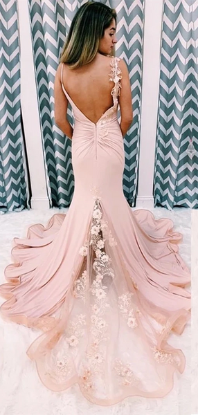 Blush Pink Jersey Appliques Prom Dresses, Mermaid Prom Dresses, Long Prom Dresses