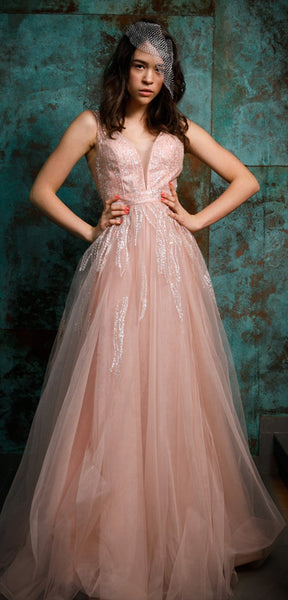V-neck Pink Tulle Beaded Long Homecoming Dresses, Prom Dresses, Long Prom Dresses