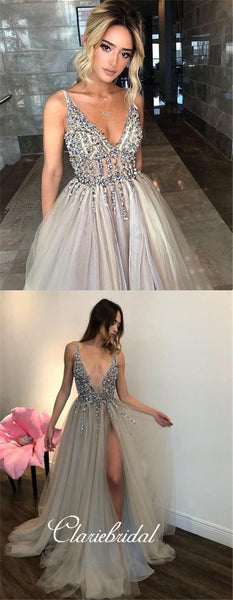 Light Grey Beaded Tulle Prom Dresses, Side Slit Prom Dresses, Long Prom Dresses
