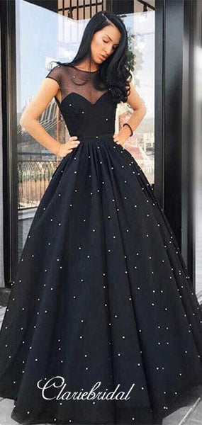 Illusion Cap Sleeves Black Tulle Beaded Prom Dresses, Long Prom Dresses, Prom Dresses
