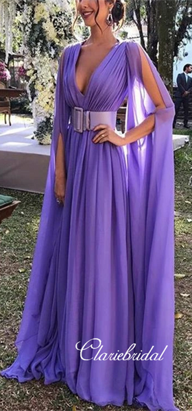 V-neck Long A-line Chiffon Prom Dresses, Long Prom Dresses, 2020 Prom Dresses, Cheap Prom Dresses