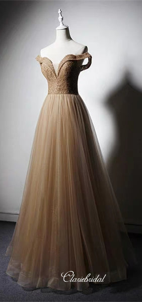 Off Shoulder Long A-line Beaded Sequin Tulle Prom Dresses, Long Prom Dresses, 2020 Prom Dresses