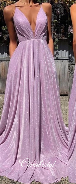 Deep V-neck Long A-line Lilac Shemmering Prom Dresses, Long Prom Dresses, Lace Up Prom Dresses