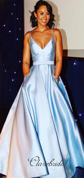 Spaghetti Long A-line Light Blue Satin Prom Dresses With Pockets, Prom Dresses