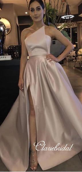 Strapless Long A-line Satin Side Slit Prom Dresses, Gorgeous Prom Dresses, Long Prom Dresses