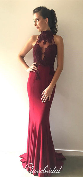 High Neck Maroon Lace Jersey Mermaid Prom Dresses