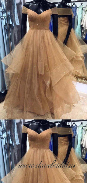 Off Shoulder Champagne Tulle With Gitter Prom Dresses, Fluffy Prom Dresses
