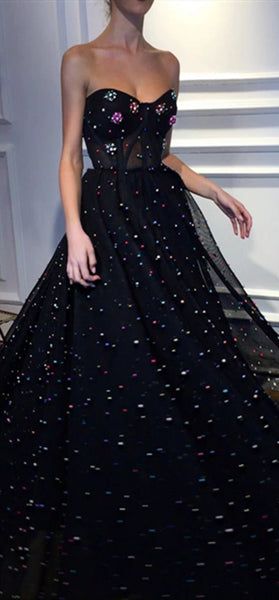 Sweetheart Long A-line Black Tulle Beaded Prom Dresses, Long Prom Dresses, 2020 Prom Dresses