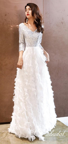 V-neck Silver Sequin Top Long A-line White Feather Skirt Prom Dresses, New Arrival Prom Dresses, Long Prom Dresses