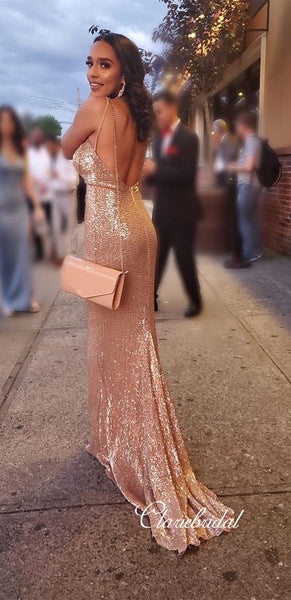 Straps V-neck Long Mermaid Sequin Prom Dresses, Sexy Long Prom Dresses, Shiny Prom Dresses