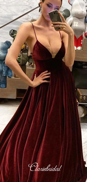 V-neck Long A-line Velvet Prom Dresses, Dark Red Prom Dresses, New Prom Dresses, 2020 Prom Dresses