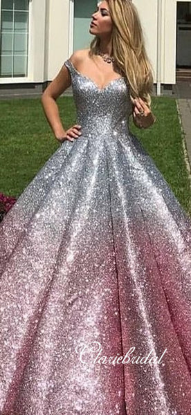 Off Shoulder Long Ball Gown Silver-Pink Sequin Prom Dresses, Ball Gown, Long Prom Dresses, 2020 Prom Dresses