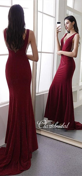 V-neck Long Mermaid Prom Dresses, Glitter Prom Dresses, Newest Prom Dresses, Long Prom Dresses