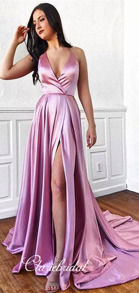V-neck Long A-line Elastic Satin Prom Dresses, Side Slit Prom Dresses, Prom Dresses